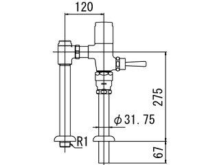 INAX トイレ フラッシュバルブ【CF-T610-C】 一般地用 洗浄水量6-8L便器用(定流量弁付フラッシュバルブ) 上水用[納期4週間]【CFT610C】 INAX・イナックス・LIXIL・リクシル