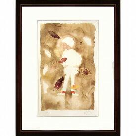 ☆ いわさきちひろ 新品「枯葉の中の少年」リトグラフ ちひろ美術館の監修 真作保証 額付き ラッピング無料 男の子 B5311