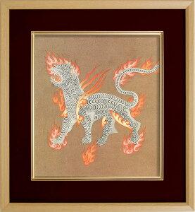 仏画 エンジ 色紙額 「西方神白虎」 複製画 額付き(額外寸32.5x35.5cm) 新品 仏画 仏教美術 仏間に。仏事の飾りに。風水 西方と秋を守護する霊獣