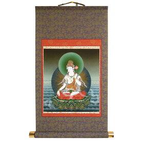 掛け軸 「観音菩薩」模表装 36x56cm 故人のご供養に 仏壇の代わりに 護持仏 仏画 佛 掛軸 新品 模軸 観自在菩薩 20351