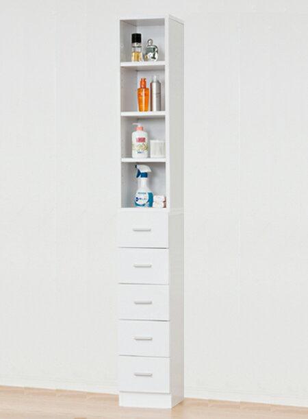 【送料無料】クロシオ 鏡面すきま収納タオルストッカー ホワイト(幅25cm)脱衣場 洗面所 キッチン収納 棚 サニタリー 27047