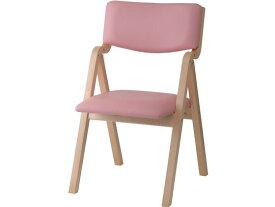 イノウエ/木製スタッキングチェア折畳式PVC座面/ピンク/KOI-11-VPK