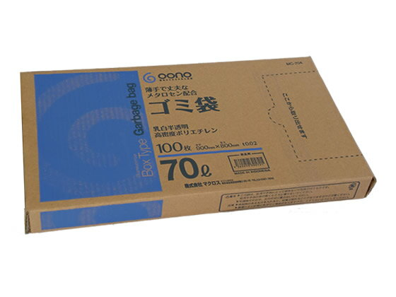Goono/BOX型ゴミ袋 薄手強化タイプ 乳白半透明70L 100枚