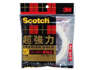 スコッチ 超強力両面テープ プレミアゴールド スーパー多用途 19mm×4m SPS-19