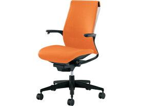 コクヨ/M4 ホワイトシェル樹脂脚固定肘 オレンジ ポリウレタンキャスター