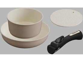 アイリスオーヤマ/セラミックカラーパン 3点セット シリコンなべ敷き付 ベージュ