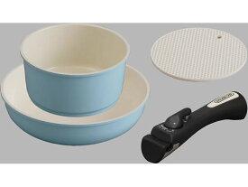 アイリスオーヤマ/セラミックカラーパン 3点セット シリコンなべ敷き付 ブルー
