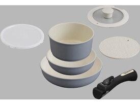 アイリスオーヤマ/セラミックカラーパン 6点セット シリコンなべ敷き付 グレー
