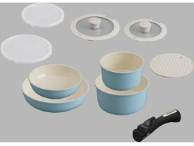 アイリスオーヤマ/セラミックカラーパン 9点セット シリコンなべ敷き付 ブルー
