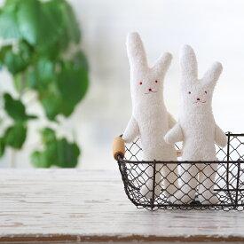 ウサギのぬいぐるみ タオル生地 日本製 オーガニックコットン 洗濯可 約29cm×11cm