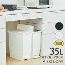 送料無料 SOLOW ペダルオープンツイン 35L ダストボックス ペダル式ゴミ箱 日本製 35リットル 大容量 フタ付 キャスター付 左右両開き …