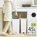 送料無料 SOLOW ペダルオープンツイン 45L ダストボックス ペダル式ゴミ箱 日本製 45リットル 大容量 フタ付 キャスター付 左右両開き …