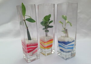 角 ロンググラス 微粒カラーサンド3鉢セット