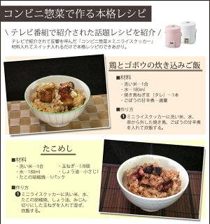 炊飯器(ミニライスクッカー)レシピ付きALCOLLE(アルコレ)ARCT104【送料無料|送料込|炊飯器|ミニ炊飯器|2合炊き|炊飯機|甘酒】