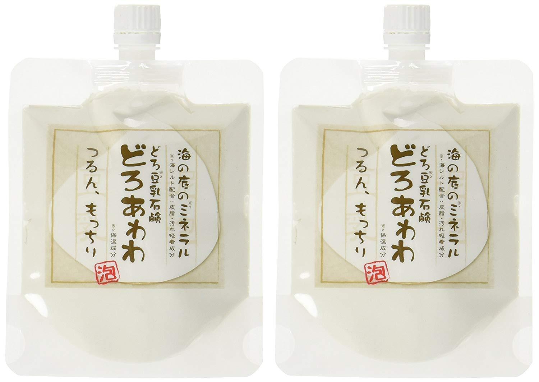 どろ豆乳石鹸 どろあわわ 110g 2個セット もっちり泡 フェイスウォッシュ 健康コーポレーション 洗顔ネット付き 送料無料