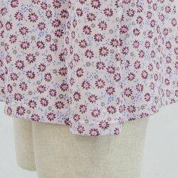 婦人シニア向け■ストレッチ切替えプリーツTブラウス7分袖カットソー日本製