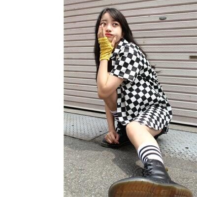 キッズダンスダンス衣装トップスチェックストレッチシャツCQTY-01[ブロックチェックチェッカーフラッグ黒白ガールズヒップホップ格子半袖前開き襟付き男女兼用かっこいい子供ダンス服韓国レディース]
