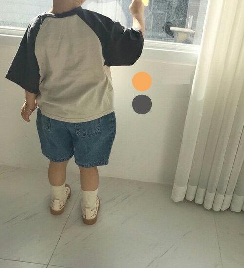 TIMESALE・ラグラン・5分袖・Tシャツ・2色・80cm・90cm・100cm・110cm・120cm・韓国子供服・cocostyle