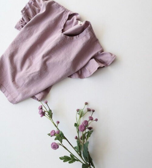 スリーブフリル半袖Tシャツ・胸の刺繍がオシャレな半袖♪90cm・100cm・110cm・120cm・130cm・韓国 子供服 ・cocostyle