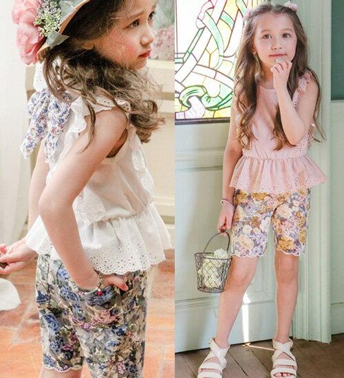 パミヤパンツ・ラブリーな裾がポイントを与え、水彩画のような花柄が素敵なパンツ♪90cm・100cm・110cm・120cm・130cm・140cm韓国 子供服 ・cocostyle