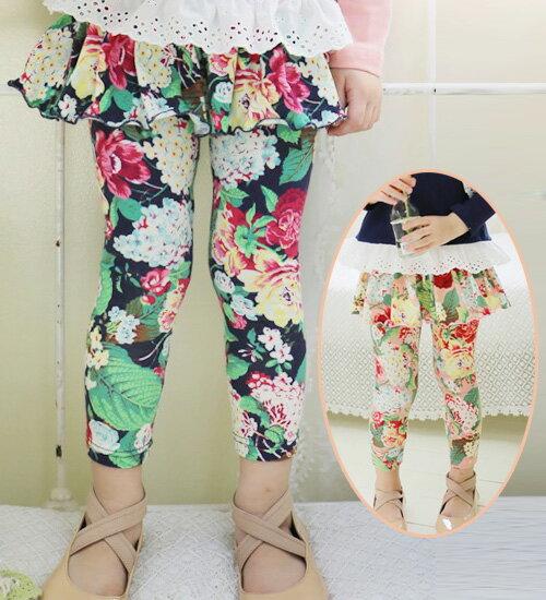 最後1点SALE・レギンス付き10分丈レギンス・大きな花柄がポイント・90cm・100cm・110cm・120cm・130cm・韓国 子供服 ・cocostyle