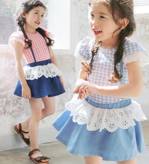 TIMESALE・ミルキー ジャンパースカート・ラブリーなこまやかなレースポイントがあまりにも魅力的なフレアスカート・90cm・100cm・110cm・120cm・130cm・韓国 子供服 ・cocostyle