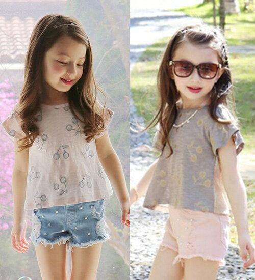 ジュビレTシャツ・肩の部分のひらきと袖の端のシャーリングがラブリーなTシャツ・90cm・100cm・110cm・120cm・130cm・韓国 子供服 ・cocostyle