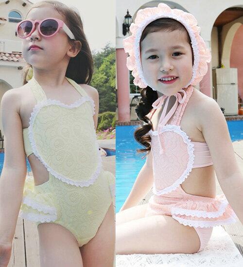 TIMESALE・ラブシューシュー水着セット・胸に大きなハートがレース感じのパンチング生地で質感や柄が愛らしい・90cm・100cm・110cm・120cm・130cm・韓国 子供服 ・cocostyle