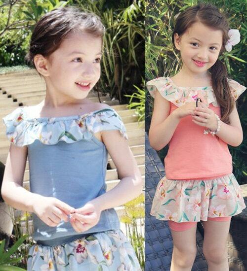 リコタ Tシャツ・肩のラインを包み込んでくれるネックラインの花柄はロマンチックで愛らしいアイテム・90cm・100cm・110cm・120cm・130cm・韓国 子供服 ・cocostyle