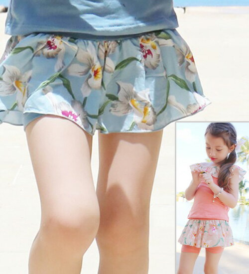 リコタ レギンス付きスカート・伸縮性の良いショートの長さのパンツと花柄のスカートが重ね着してロマンチックなスタイル・90cm・100cm・110cm・120cm・130cm・韓国 子供服 ・cocostyle