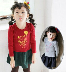 キャットワンピース・胸元のプリントと、色の組み合わせてちょっぴり北欧テイスト・90cm・100cm・110cm・120cm・130cm・韓国 子供服 ・cocostyle