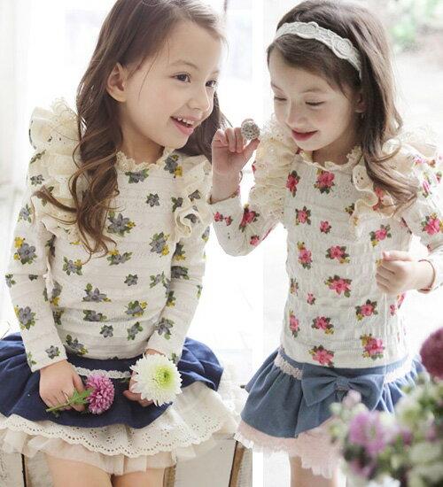 TIMESALE・セイジ 長袖T・アイボリー地で描かれた大胆な花柄がとても大人かわいい・90cm・100cm・110cm・120cm・130cm・韓国 子供服 ・cocostyle