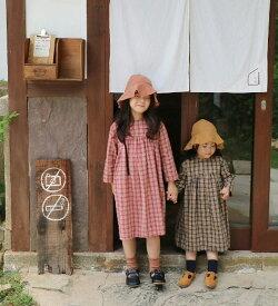 TIMESALE【MOM有】メリチェック・ワンピース・90cm・100cm・110cm・120cm・130cm・親子ペアルック・ママとお揃い・マタニティー・韓国 子供服 ・cocostyle