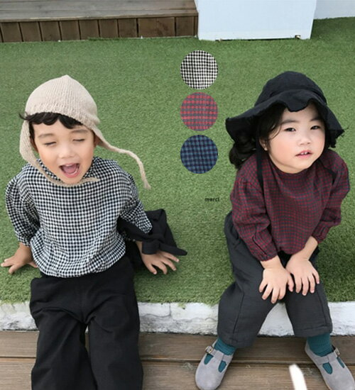 SALE【MOM有】ビンテージ・チェック柄・ブラウス・親子ペアルック・ママとお揃い・90cm・100cm・110cm・120cm・130cm・マタニティー韓国 子供服 ・cocostyle