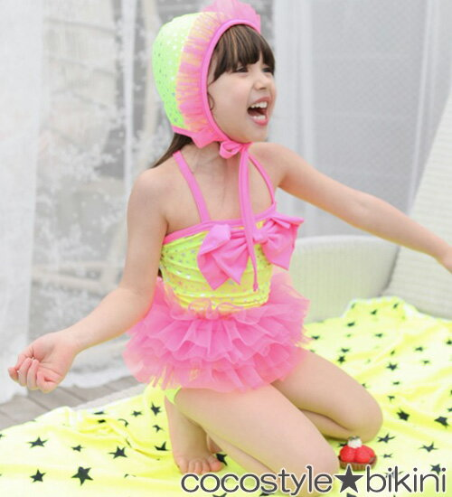 最後1点SALE・リボン水着 水着+スイミング帽子セット・大きいリボンとチュチュが可愛い水着♪90・100cm・110cm・120cm・130cm・韓国 子供服 ・cocostyle