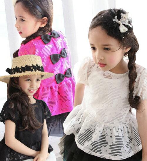 ジェニアン ブラウス・上品なふんわりボリューム感がとてもかわいい!花とボーダー柄を入れ、今期流行りの透け素材アイテム・90cm・100cm・110cm・120cm・130cm・韓国 子供服 ・cocostyle