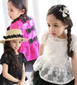 【お任せ便送料無料】TIMESALE・ジェニアン ブラウス・上品なふんわりボリューム感がとてもかわいい!花とボーダー柄を入れ、今期流行りの透け素材アイテム・90cm・100cm・110cm・120cm・130cm・韓国 子供服 ・cocostyle