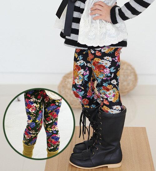 最後1点SALE・シンプルからガーリーカジュアルあらゆるスタイルに絶妙コーデを披露してくれる【花柄スパッツ】♪10分丈レギンス・90cm・100cm・110cm・120cm・130cm・韓国 子供服 ・cocostyle