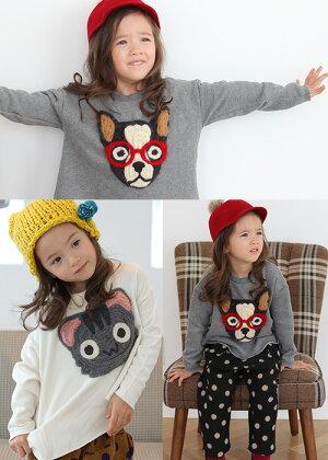 これ一枚で可愛くコーデ★可愛いアップリケに胸キュン♪長袖トレーナー・Tシャツ◎90cm・100cm・110cm・120cm・130cm・韓国子供服