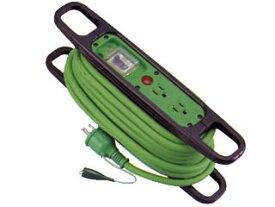 日動工業:ハンドリール アース・漏電保護専用 ソフト電線使用 10m HR-EB102-緑