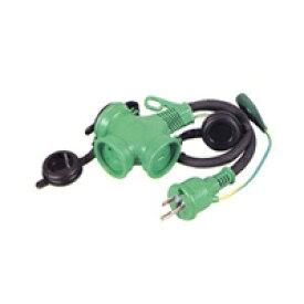 日動工業:トリプルポッキン防雨型(アース付)[ブリスターパック入] 極太ソフト電線使用 50cm PPTW-0.5E