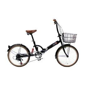 TOP ONE(トップワン):20インチ折畳み自転車 シマノ外装6段ギア・リアサスペンション・前カゴ・カギ・ライト付 ブラック FS206LL-37-BK