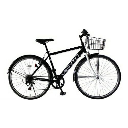 【代引不可】TOP ONE(トップワン):26インチシティクロスバイク シマノ外装6段ギア・前カゴ・泥除け付 ブラック T-MCA266-43-BK