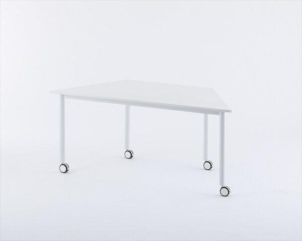 【代引不可】アール・エフ・ヤマカワ:キャスターテーブル 台形 ホワイト RFCTT-WL8016DWH