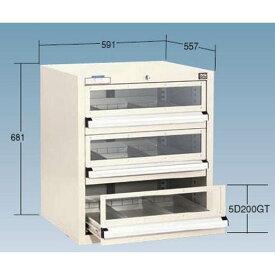 OS(大阪製罐):ライトキャビネット(アクリル窓付タイプ) 軽量型(5型) 3段 ライトグレー 5-603GT