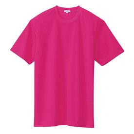 アイトス:クールコンフォート半袖Tシャツ(ポケット無し)(男女兼用) ローズ M 10574
