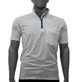 アグロワークス:ポリエステルジャージジップシャツ ホワイト L 7112007