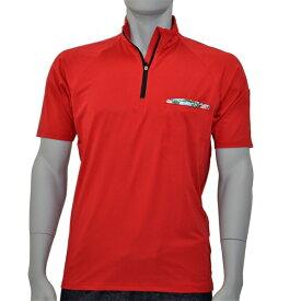 アグロワークス:ポリエステルジャージジップシャツ レッド M 7112007