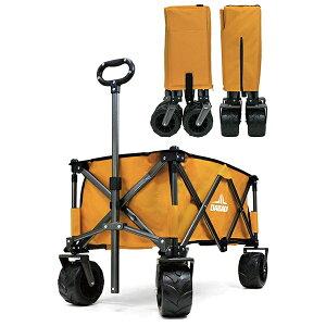 DABADA:アウトドアワゴン マスタード 大容量110L 耐荷重150kg キャリーワゴン キャリーカート 折りたたみ 頑丈 ワイドタイヤ 自立 キャンプ