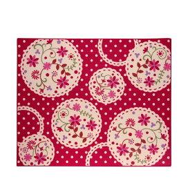 イケヒコ・コーポレーション:デスクカーペット 女の子 花柄 『パミュ ツー』 レッド 約110×133cm 4719829